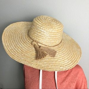 Floppy Straw Sun Hat Beach Hat with Tassels